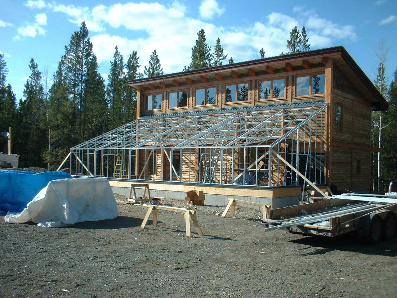 Large Double Glass Home Attached Greenhouse